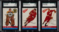 Hockey Cards:Lots, 1954 Topps Hockey Henry, Delvecchio and Reibel SGC Graded Trio(3)....