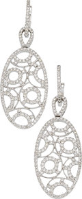Estate Jewelry:Earrings, Diamond, White Gold Earrings, Eli Frei . ...