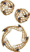 Estate Jewelry:Suites, Cultured Pearl, Sapphire, Gold Jewelry Suite. ... (Total: 2 Items)