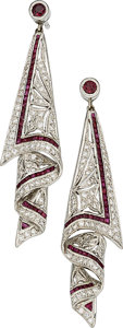 Estate Jewelry:Earrings, Diamond, Ruby, White Gold Earrings. ...