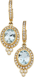Estate Jewelry:Earrings, Aquamarine, Diamond, Gold Earrings, Temple St. Clair
