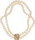 Estate Jewelry:Necklaces, Cultured Pearl, Diamond, Sapphire, Gold Necklace. ...
