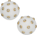 Estate Jewelry:Earrings, White Onyx, Diamond, Gold Earrings. ...