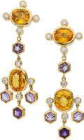 Estate Jewelry:Earrings, Sapphire, Diamond, Amethyst, Gold Earrings, Assael. ...
