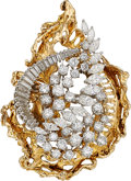 Estate Jewelry:Brooches - Pins, Diamond, Platinum, Gold Brooch, French. ... (Total: 2 Items)