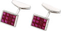 Estate Jewelry:Cufflinks, Ruby, Diamond, White Gold Cuff Links, Assil. ...