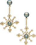 Estate Jewelry:Earrings, South Sea Cultured Pearl, Diamond, Gold Earrings, Assael. ...