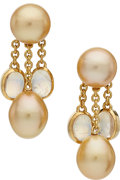 Estate Jewelry:Earrings, South Sea Cultured Pearl, Moonstone, Gold Earrings, Assael. ...