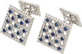 Estate Jewelry:Cufflinks, Sapphire, White Gold Cuff Links, Gübelin. ...