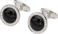 Estate Jewelry:Cufflinks, Black Onyx, Diamond, White Gold Cuff Links . ...