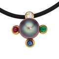 Estate Jewelry:Necklaces, South Sea Cultured Pearl, Diamond, Multi-Stone, Gold Necklace, Assael. ...