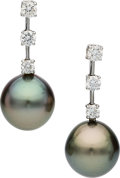 Estate Jewelry:Earrings, South Sea Cultured Pearl, Diamond, White Gold Earrings, Assael. ...