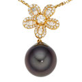 Estate Jewelry:Necklaces, Diamond, South Sea Cultured Pearl, Gold Necklace, Assael. ...
