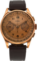 Timepieces:Wristwatch, Swiss Gold Chronograph For P. Buhre, circa 1940's. ...