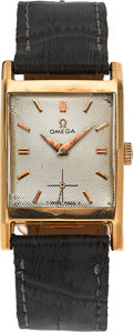 Timepieces:Wristwatch, Omega Vintage 18k Gold Wristwatch, circa 1950. ...