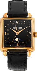 Timepieces:Wristwatch, Jaquet-Girard Rare 18K Pink Gold Triple Calendar Moonphase SquareVintage Wristwatch. ...