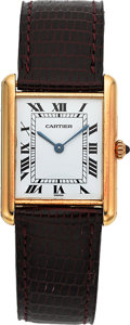 Timepieces:Wristwatch, Cartier 18K Gold Lady's Tank Wristwatch Circa 1990 . ...