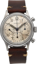 Timepieces:Wristwatch, Heuer Retailed By Abercrombie & Fitch Stainless Steel Chronograph Circa 1950's. ...