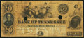 Obsoletes By State:Tennessee, Nashville, TN- Bank of Tennessee $20 June 1, 1861. ...
