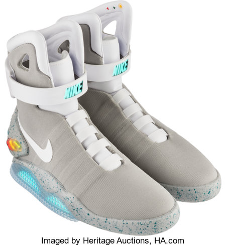 Nike Air Mag (Back to the Future), Multi-Color/Multi-Color, 2016 Size 11, Original Box with Signed Numbered Plate, Dis... (Total: 2 Items)