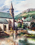 Fine Art - Painting, European, José Vives-Atsara (Spanish/American, 1919-2004). A Church atSaint Flour, France, 1964. Oil on canvasboard. 30 x 24 inch...