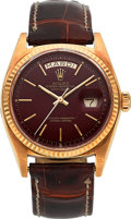 "Timepieces:Wristwatch, Rolex Day-Date Rare ""Stella Oxblood Dial"" 18K Gold Wristwatch Ref. 1803, Circa 1973. ..."