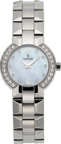 Timepieces:Wristwatch, Concord Lady's Steel, Diamond & Pearl Watch. ...