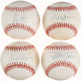 Autographs:Baseballs, Baseball Greats Single Signed Baseball Collection (4) - IncludesAaron, Jackson, Ryan, & Rose....
