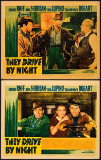 "They Drive by Night (Warner Brothers, 1940). Linen Finish Lobby Cards (2) (11"" X 14""). Drama. ... (Total: 2 It..."