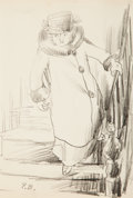 Fine Art - Work on Paper:Drawing, Peggy Bacon (American, 1895-1987). Descending the Stairs.Pencil on paper. 8 x 5-1/4 inches (20.3 x 13.3 cm) (sight). In...
