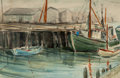 Fine Art - Work on Paper:Watercolor, James Milton Sessions (American, 1882-1964). Harbor Scene. Watercolor on paper. 11-3/4 x 17-3/4 inches (29.8 x 45.1 cm) ...