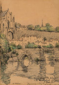 Fine Art - Work on Paper:Drawing, Clarence Montfort Gihon (American, 1871-1929). A River View,1925. Pencil and pastel on paper. 6 x 4 inches (15.2 x 10.2...