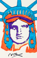 Fine Art - Work on Paper:Drawing, Peter Max (American, b. 1937). Liberty Head. Marker onpaper. 21-1/2 x 13-1/2 inches (54.6 x 34.3 cm) (sight). Signedlo...