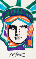 Fine Art - Work on Paper:Drawing, Peter Max (American, b. 1937). Liberty Head. Marker onpaper. 21 x 13-1/4 inches (53.3 x 33.7 cm) (sight). Signed lower...