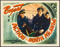 "Movie Posters:War, Action in the North Atlantic (Warner Brothers, 1943). Lobby Card(11"" X 14""). War.. ..."