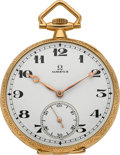 Timepieces:Pocket (post 1900), Omega Choice 18k Gold & Enamel Pocket Watch, circa 1924. ...