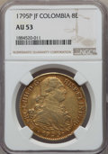Colombia, Colombia: Charles IV gold 8 Escudos 1795 P-JF AU53 NGC,...
