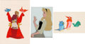 Animation Art:Production Cel, Sleeping Beauty Briar Rose and Forest Birds Art CornerProduction Cel Group of 3 (Walt Disney, 1959). ...
