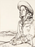 Animation Art:Production Drawing, Herb Ryman - Cowgirl Illustration (1946)....