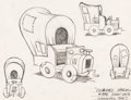 "animation art:Model Sheet, Syncopated Sioux ""Covered Wagon"" Model Sheet Original Art(Walter Lantz, 1940)...."