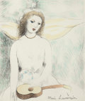 Prints & Multiples, Marie Laurencin (French, 1885-1956). Jeune fille à la Guitare. Etching with hand coloring. 7-3/4 x 6-1/2 inches (19.7 x ...