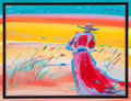 Fine Art - Work on Paper:Watercolor, Peter Max (American, b. 1937). Walking in the Reeds. Acrylicon lithograph in colors, with handpainted mat accent. 33-1/...