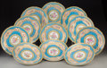 Decorative Arts, Continental, Eleven Sèvres-Style Porcelain Plates, 19th century. Marks: (pseudoSèvres marks). 9-1/2 inches diameter (24.1 cm). PROPERT... (Total:11 Items)