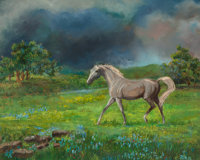Rita Hoffman Shulak (American, 20th Century) Horse in Bluebonnet Landscape Oil on canvas 20 x 24
