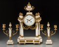 Decorative Arts, French, A Three-Piece French Louis XVI-Style Gilt Bronze Mounted MarbleClock Garniture, late 19th century. 18-3/4 x 11 x 5-1/2 inch...(Total: 3 Items)