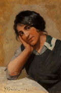 Paintings, Peder Mork Monsted (Danish, 1859-1941). Portrait of a Young Girl, 1914. Oil on canvas. 17 x 11-1/2 inches (43.2 x 29.2 c...