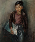 Fine Art - Painting, American, George Chann (American/Chinese, 1913-1995). Newspaper Boy.Oil on canvas. 30 x 25 inches (76.2 x 63.5 cm). Signed lower ...