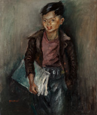 George Chann (American/Chinese, 1913-1995) Newspaper Boy Oil on canvas 30 x 25 inches (76.2 x 63