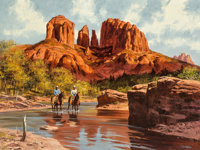 Howard Schafer (American, 20th Century) Near the Mesas Oil on canvas 30 x 40 inches (76.2 x 101.6