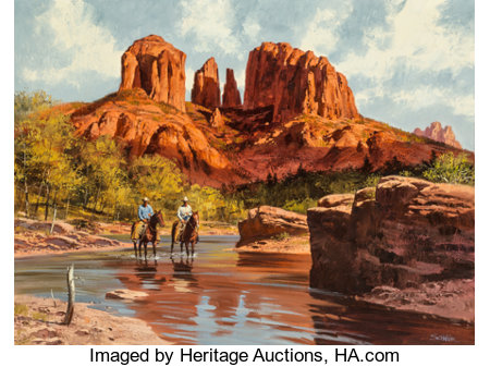 Howard Schafer (American, 20th Century) Near the Mesas Oil on canvas 30 x 40 inches (76.2 x 101.6 cm) Signed lower r...